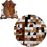 Leah- Tappeto in Pelle Bovina Cucito a Mano, Tappetino Rotondo Moderno Minimalista in Pelle di Vitello, Soggiorno, Camera da Letto (Varie Dimensioni Disponibili)