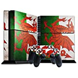 Stillshine Vinyl Decal Full Body Skin Sticker For Sony Playstation 4 PS4 console x 1 and controllers x 2 (Flags Wales)