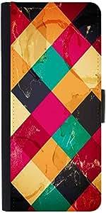 Snoogg Rhombbus Rainbows Designer Protective Phone Flip Case Cover For Samsung Galaxy E5