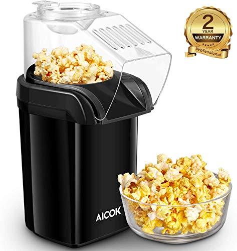 Aicok Machine à Pop Corn, 1200W Retro Machine à Popcorn avec Air Chaud, Sans Gras Huile, Avec une Tasse à Mesurer et Couvercle Supérieur Amovible, sans BPA