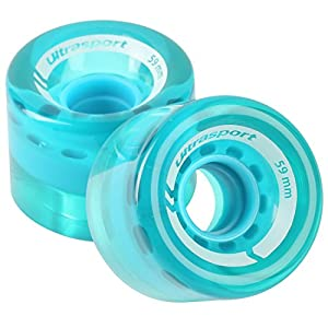 Ultrasport Skateboard wheels, made of a softer material for perfect grip on bad surfaces, set of 2 in transparent blue