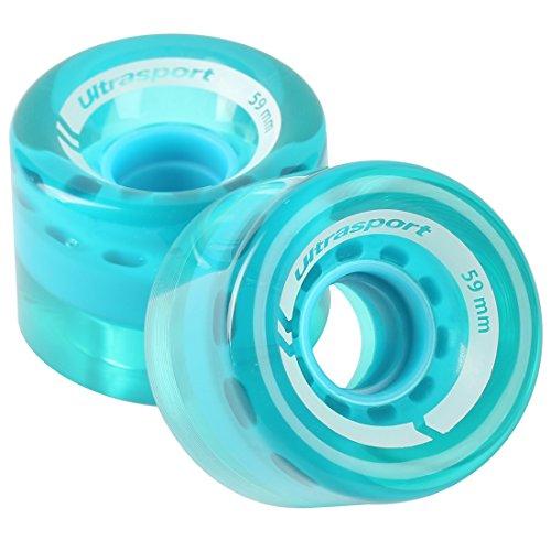 Ultrasport en matériau Souple pour Une adhérence Parfaite sur Une Surface irrégulière Roues de skateboard Mixte Enfant, Transparent/Bleu