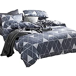 Luofanfei Kingsize Bettwäsche 220 x 240 Geometrisch Dreiecke Streifen Baumwolle Bettbezug Blau und Grau Zweiseitig Gemustert