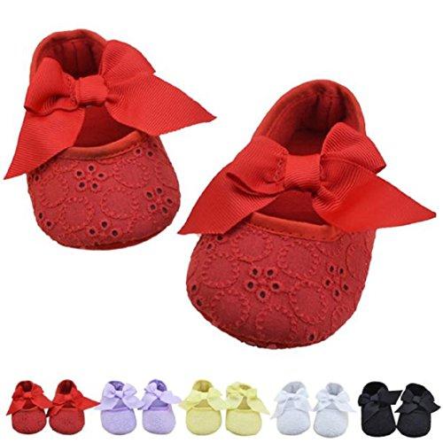 BZLine® Baby Mädchen Baumwolle Bowknot weichen Blume Prewalker Schuhe Lila