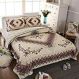Swedife - Set di 3 trapunte ricamate a mano per camera da letto, copriletto di lusso, motivo floreale patchwork, per tutte le stagioni, 1 trapunta e 2 federe King Stile 1