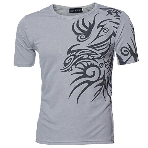 Herren T-shirt Tops,Dasongff Männer T-Shirts Kurzarmshirt Top Print Shirt Casual Blusen Pullover Basic O-Neck Sport Shirts Slim Fit Design (3XL, Grau)