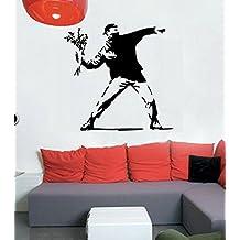 Vinilo Decorativo Banksy Hoolligan .(120x120cm.aprox.) color negro.