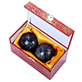 Dunkelgrüne Gesundheitsbälle aus natürlichem, chinesischem Natur-Jadestein, Produkt aus Baoding in natürlicher Steinfarbe., dunkelgrau, box-packed