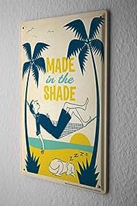 Rétro Décoration Murale Plaque Émaillée Fait à l'ombre des palmiers hamac couchage homme chien Paroi Métallique Signes 20X30 cm