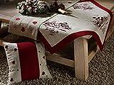 heimtexland Weihnachten Kissenhülle Leinen natur bestickt mit Tannen und Sternen in rot Kissen 40x40 cm Weihnachtsdeko TOP QUALITÄT Typ174
