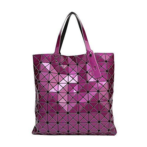 Frauen Geometrische Gesteppte Umhängetasche Tragetasche Purple