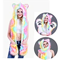 About Beauty Animal Hood, Hut, Schal PAW Mittens Furry Hoodie (Regenbogen Farbe)