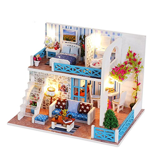 Amosfun Miniature DIY Mini House Kit with Furniture Accessories Creative Romantic Gift for Children Lovers and Friends (K-019 Bank of Helen)
