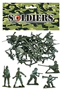 Bag of 50 Traditional Green Plastic Toy Soldiers for Army Military War Games