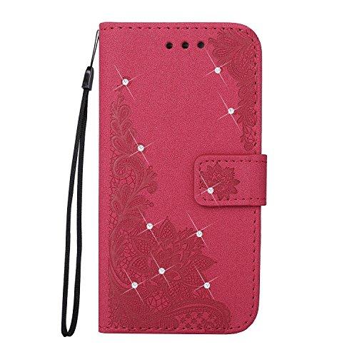 Geprägte Phenix Blume Bling Glänzende Harz Rhinestone Muster PU Leder Brieftasche Fall mit Lanyard Card Slots für iPhone X ( Color : Red ) Red