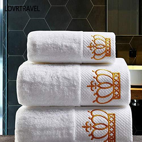 HUILIN gestickte Kaiserkrone Baumwolle weiß Hotel Handtuch Set Gesicht Handtücher Badetücher für Erwachsene Waschlappen saugfähigen Handtuch, 3-teiliges Set - Handtuch-set Monogrammiert