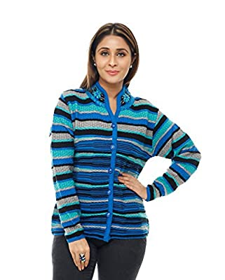 Perroni Women's Cardigan/ Sweater for Winter (Large, Blue)