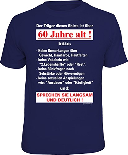 RAHMENLOS Original T-Shirt zum 60. Geburtstag: Der Träger Dieses Shirts ist über 60 Jahre alt - Größe L, Nr.4316