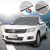 SCM Frost Windshield Cover, Ice and Frost Guard Fits SUV, Truck & Car Windshields, Magnetic Snow Multi-used as Outdoors Picnic Mats, Double protection (Magnetic and Buckle; 215 * 125 cm)