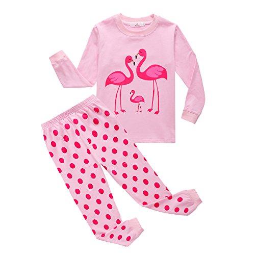 Print-schlafanzug (Baby Kleinkind Mädchen Nachtwäsche Set, Baywell Kinder Cartoon Pyjamas Pink Meerjungfrau Flamingo Print (L / 5-6Y/110, Flamingo))