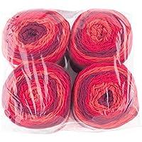 Gründl 3582–07Lolly Pop, Ventaja Pack 4(Ovillo de 150g–Hilo para Tejer, 100% Poliacrílico, Wild Cherry Swirl, 24x 24x 10cm