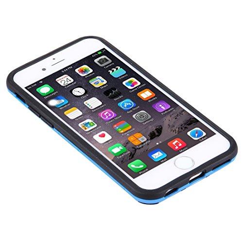 JING Pour iPhone 6 Plus / 6s Plus, Housse combinée TPU + PC séparable avec support ( Color : Silver ) Blue