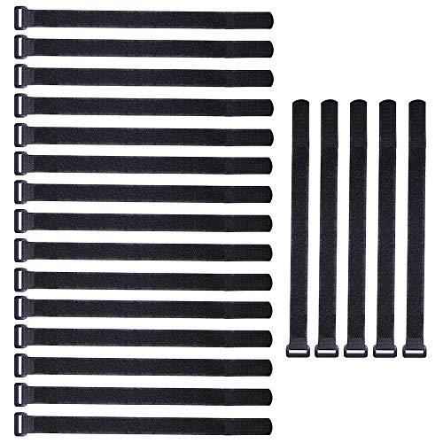 ARTGEAR Lot de 20 pièce Attaches de Câbles scratch, 2 ×30 cm Serres-Câbles Réutilisables, Attache Câble en Nylon Réglable, Crochet et Boucle (Noir)