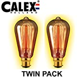 2unidades Calex–Bombilla 40W B22BC, diseño de ardilla lámpara bombilla–130lm–intensidad regulable–2000K Blanco Cálido–3000horas–Lámpara de estilo rústico grande