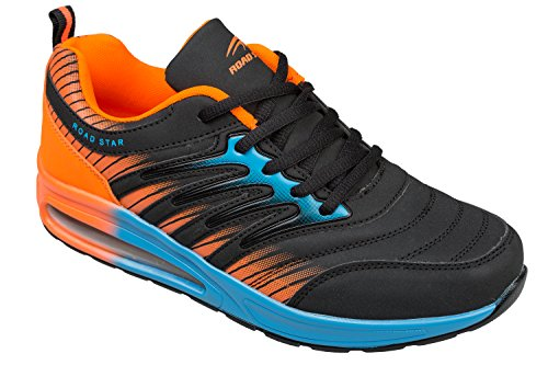 gibra Sportschuhe, Sehr Leicht und Bequem, Schwarz/Orange/Blau, Gr. 36-41 schwarz/orange/blau