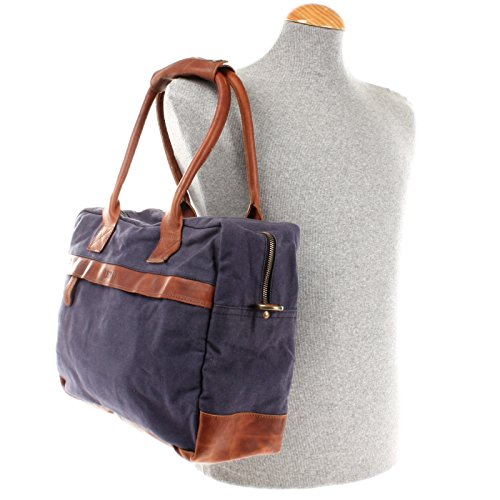 LECONI kleiner Weekender Rindsleder Canvas Handgepäck XL Shopper Damen Herren Arbeitstasche 40x30x15cm LE2007-C navy / braun