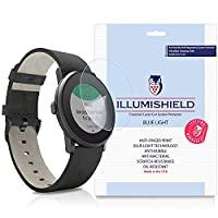 iLLumiShield - Pebble Time Round 20mm Screen Protector + (HD) Blue Light UV Filter / Premium Clear Film / Anti-Fingerprint / Anti-Bubble Shield - [2-Pack]& Lifetime Warranty