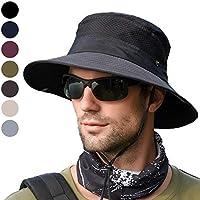 anaoo Sombrero Hombre Gorra de Verano Sombrero Pesca del Sol Gorra al Aire Libre Sombrero Playa Hombre Plegable De ala Ancha Protección UV, Color Negro