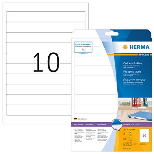 Herma 5119 Ordnerrücken f. Ringbücher (192 x 25,4 mm) 250 Ordner Etiketten, 25 Blatt A4 Papier matt, weiß, bedruckbar, selbstklebend