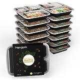 [15 Stück mit 15 Deckel ] Homgeek Meal Prep,3 Compartment Bento Box Lunch Tablett, BPA-frei Box Set mit Deckel, Safe für Spülmaschine, Mikrowelle und Gefrierschrank, Schwarz