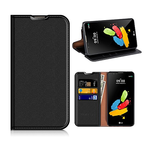 MOBESV LG Stylus 2 Hülle Leder, LG Stylus 2 Tasche Lederhülle/Wallet Case/Ledertasche Handyhülle/Schutzhülle mit Kartenfach für LG Stylus 2 - Schwarz