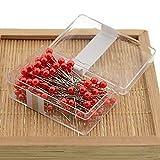 100pcs/Box cucito pins, 36mm rotondo multicolore Ball Head pins for Jewelry making, dritto quilting pins per sartoria gioielli componenti Flower Decor Taglia libera Red