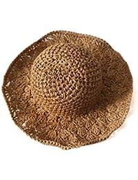 SODIAL Nouveau chapeau visiere plage d ananas Panama a crochet fait main  pour des enfants Chapeau de paille pliant a la main Chapeau de soleil… 50159ff493b
