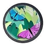 Juego de 4 pomos y tirador con diseño de mariposa, color verde