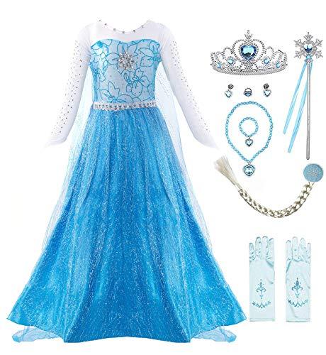 Elsa Kostüm Königin Frozen - KABETY Mädchen Prinzessin Anna Kleid Schnee königin ELSA Kostüm Party Kleid,4 Jahre (Hersteller Größe:110) ,Blau mit Zubehör
