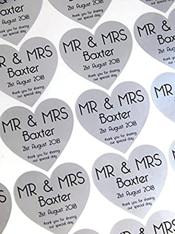 60 Personalised Thank You For Sharing Our Special Day Stickers - Silver - Wedding Favours Bag Card Box Heart Shaped Seals 3cm - High Quality Vinyl