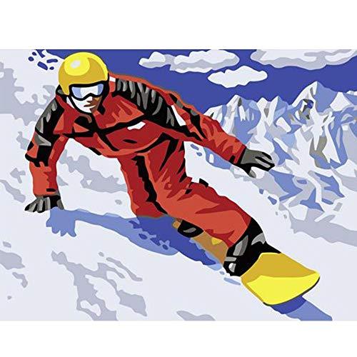 Painting-YC Malen Nach Zahlen Kits Mach Es Selbst Leinwand Gemälde Für Erwachsene Kinder Anfänger Snowboard Winter Man Ski 16 × 20