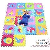 qqpp Tapis de puzzles - Tapis de sol épais pour l'éveil de bébé - puzzle géant...