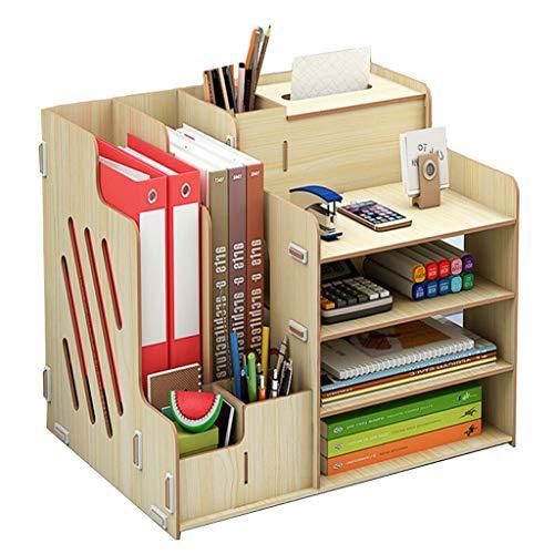 Haoli-sj Büro-Desktop-Aufbewahrungsbox aus Holz Bücherregal mit Schublade mehrschichtige Bürobedarf Informationsbuch Datei Holzgestell (Farbe : B) (Datei Schublade Bücherregal)