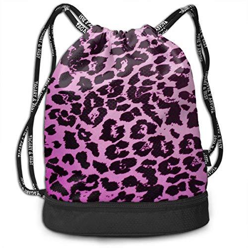 not applicable Morral del Lazo con el Bolsillo Multifuncional Robusta Leopardo Textura Mochila de Gimnasia de los Deportes de Cuerda Bolsas de Hombro