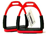 Amidale Flexi Safety Stirrups Horse Riding Bendy Irons S. Steel Red 4.75