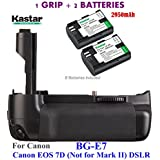 Kastar Pro Multi-Power Vertical Battery Grip (Replacement For BG-E7) + 2x LP-E6 Replacement Batteries For Canon EOS 7D (Not For Mark II) Digital SLR Camera