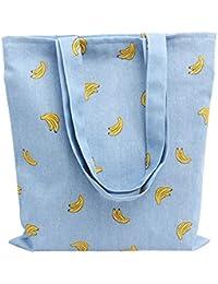 Nuni Women's Banana Print Cotton Canvas Tote Bag Blue