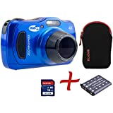 "Bundle: INOV8 C204M Compact Tough Digital Camera Blue + Sandisk 16GB+ Spare NP-45 Battery + Kodak Carry Case (20.1 MP, 4x Optical Zoom, 2.7""LCD, 720p HD Video Recording, Shockproof & Waterproof up to 10m deep)"