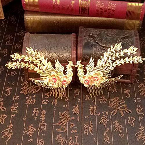 Chinesischen Kostüm Drachen Kindes - Braut Tiara chinesischen Stil Kostüm Haarschmuck goldenen Phönix Haarnadel Drachen Phönix, zeigen Wo Kleidung Phönix Set Film und Fernsehen Zubehör roten Perlen Seite Phönix Paar