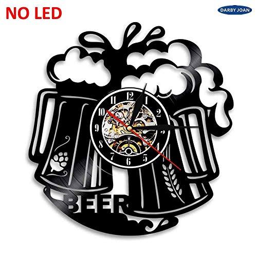 OLILEIO Bier Tasse Handgemachte LED Vinyl Uhr Silhouette Wandleuchte Fernbedienung Kunst Hintergrundbeleuchtung Coole Wohnzimmer Farbwechsel, Keine LED, 12 Zoll
